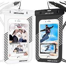 MOSSLIAN Funda Bolsa Móvil Impermeable Universal 6 Pulgadas, 2 Unidades IPX8 Certificado Funda Impermeable móvil, Funda Resistente al Agua Bolsa Movil Playa a Pruebva de Agua y Polvo de Suciedad, para deportes acuaticos para iPhoneX 8 7 Plus se 6 6s Samsung galaxy X S9 S8 HUAWEI P20 P10 P9 hasta 6 pulgadas, (Rayas Negro y Blanco)