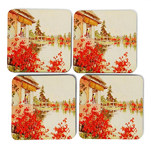 set-of-4-square-coasters-9-x-9-cm-free-postage-ella-du-cane-japanese-oriental-azaleas-nagaoka-el-jap
