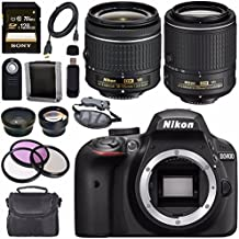 Nikon D3400 DSLR Camera With AF-P 18-55mm VR Lens (Black) + Nikon 55-200mm F/4-5.6G ED VR II Lens + Sony 128GB SDXC Card + Carrying Case Bundle