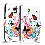 Verco Handyhülle Galaxy S5 Mini Muster, Motiv Hülle für Samsung Galaxy S5 Mini Book Case Flip Cover - Design 8