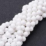 NBEADS 10fili (51PCS/ciocca) 8mm rotonda naturale giada bianca fili di perline perline per bricolage fai da te gioielli braccialetto pendente collana