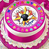 In Bowling Happy Birthday Pink 19,1 cm vorgeschnittenen Essbarer Zuckerguss Kuchen Topper Dekoration