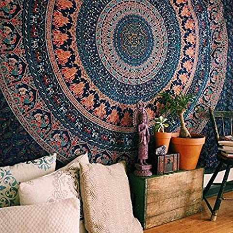 Indian-hippie-gypsy Bohemian-psychedelic Cotton-mandala Wall-hanging-tapestry-multi-color Queen-size-large-mandala