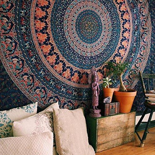 Arazzo da muro in stile indiano, hippy, gitano, psichedelico, in cotone, mandala, multi-colore, grandi dimensioni, queen, 215 cm x 230 cm