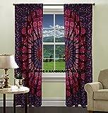 Indian Cotton Peacock Mandala Door Window Cover Curtain Hanging Portiere Drape Curtains Drapes Valances