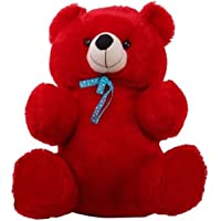 GURUDEV RT Plush Soft Toys Stuffed Teddy Bear with Ribbon in Neck Cuddles Toy (90 cm, Red)