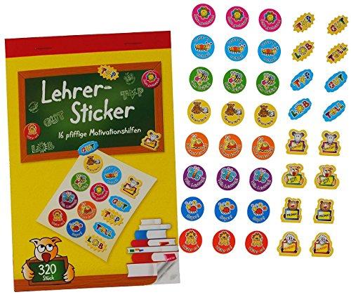 Unbekannt 320 Stück - Lehrersticker - Belobigungs Sticker- 16 Verschiedene Motive - z.B. für Schule Lehrer - Lob Belohnung Aufkleber - Stickerblock - Motivationssticker