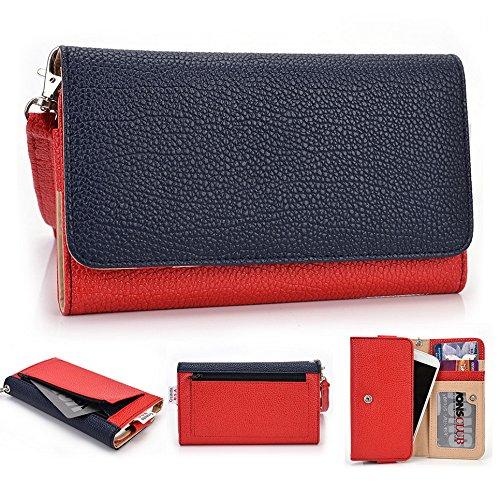 Kroo Housse Wallet Wristlet Case pour Samsung Galaxy Exhibit/Trend Lite/S Duos 2 Mint Blue and White bleu/rouge