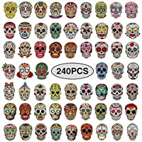 240 Pieces Sugar Skull Stickers Halloween Skull Vinyl Decals Graffiti Skateboard Stickers Waterproof Decorative Sticker Decal for Laptops, Luggage, Cars,Bikes, Motorcycle, Helmet,Snowboard