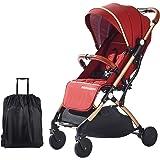 SONARIN Lätt barnvagn, kompakt resebuggy, vikbar med en hand, fempunktssele, bra för flygplan