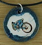 Echtes Kunsthandwerk: Toller Keramik Anhänger mit einem Motorrad; Biker, vintage