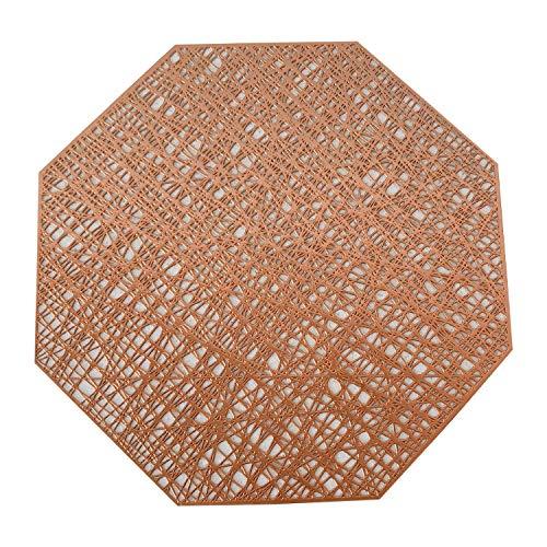 SNOLEK Tischset - achteckiges, hohles Isolierkissen, einfarbiges, einfaches, rutschfestes PVC-Westernkissen im japanischen Stil, Bronze-Achteck -