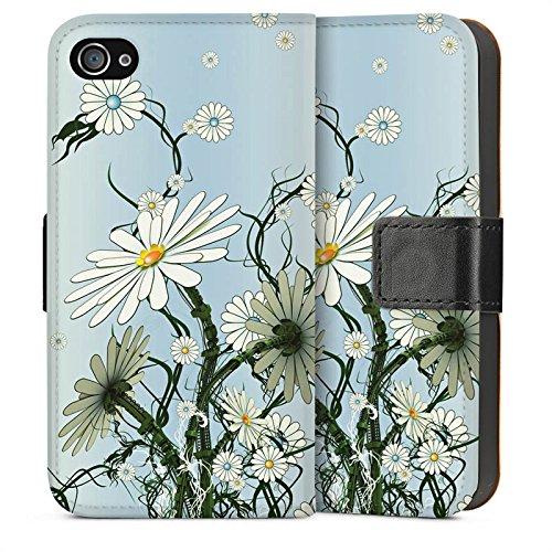 Apple iPhone 5s Housse Étui Protection Coque Fleurs Fleurs Vrilles Sideflip Sac