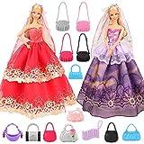 Miunana 2 Ropas Vestidos De Novia + 10 Bolsos para Barbie Doll...