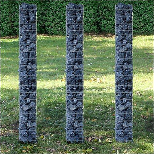 [pro.tec] Säulen – Gabionen 3er-Set (Grundriss viereckig – 25cm) (3X 200 cm hoch) Steingabionen/Spalier /