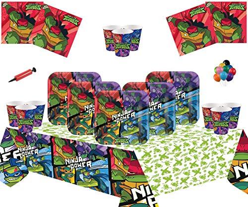 Mutant Ninja Turtles Party Supplies Kinder Geburtstag TMNT Geschirr für 16 Gäste-Einweg Ninja Plate Cup Serviette Tischdecke ()
