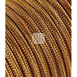Textilkabel für Lampe 5 Meter 3 Adrig whisky (2x0,75mm2) SuperFlex | Textilummanteltes Stoffkabel zum bau dekorativer Textilkabellampen | Zuleitung für Lampe | elektrische Leitung | Pendelleuchten