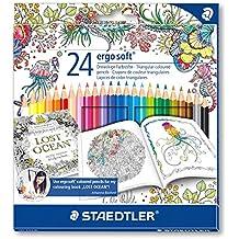 Staedtler Ergosoft 157 - Pack de 24 lápices de color (triangulares, 3 mm, 17.5 cm), color azul