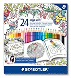 Staedtler 157 C24JB Ergosoft Colouring Pencils with Johanna Basford Packaging - Assorted, Pack