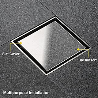 Artbath Bathroom 5.9 Inch Shower Drain Square Invisible Unblocker Stainless Steel Floor Drainer Hair Catcher with Removable Strainer Ground Drainer