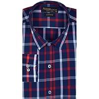 ACCOX Men's Full/Long Sleeves Formal Regular Fit Cotton Check Shirt(GO556)