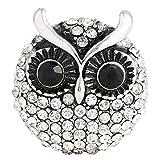 Morella® Damen Click-Button Druckknopf große Eule mit Zirkoniasteinen weiß