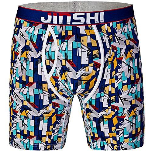 JINSHI Herren Länger Underwear Bambus Low Rise Boxer Shorts Cool Tunk Schnelltrocknend Schwarz Größe L (Bambus-baumwoll-shorts)
