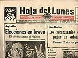 HOJA DEL LUNES. Nº 2.052. Elecciones en Argentina. Accidente de autobús en Jerez de la Frontera. Crónica del Tour: Luis Ocaña ganó la primera etapa pirenaica.