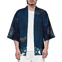 CIZEUR T-Shirt Uomo Cardigan Unisex Elegante Stampato Floreale Maglietta con Tasche Kimono Giapponese Casual Moda…