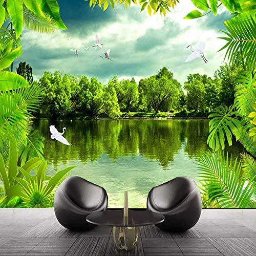 4745 Grün (3D Fototapete Tropischer Regenwald Grün Natur Landschaft Fotografie Hintergrund Dekor Wandmalerei Große Wandbilder-350X250CM)