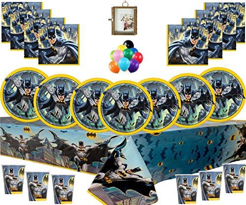 Dark Knight Batman Geburtstagsfeier Geschirr Pack Superhero Batman Party Supplies für 16 Gäste - kostenlose Foto Frame & ()