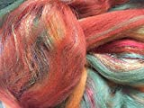 Shimmer Amber - Merino Wool/Silk/Trilobal Mix for Needle Felting, Wet Felting & Spinning