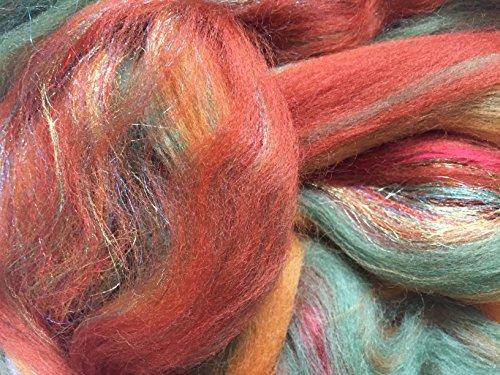 Ámbar brillante, mezcla de lana merina/seda/trilobal para fieltro de aguja, fieltro húmedo y spinning.