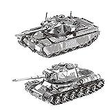 MTu 2pcs 3D Metall Puzzle MK50 Panzer JS-2 Panzer Tank Modell DIY 3D Laserschnitt Modell-Bausatz Spielzeug