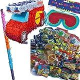 Pinata Set: * Feuerwehrauto * mit + Maske + Schläger + 100-teiliger Süßigkeiten-Füllung No.1 von Carpeta // Handgefertigte Spanische Pinata. Tolles Spiel für Kindergeburtstag Oder Mottoparty