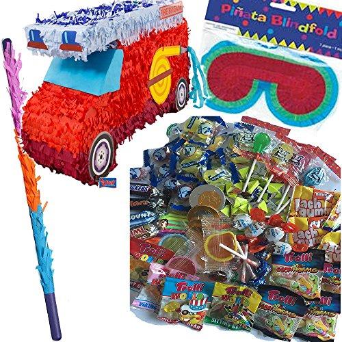 Pinata Set: * Feuerwehrauto * mit + Maske + Schläger + 100-teiliger Süßigkeiten-Füllung No.1 von Carpeta© // Handgefertigte spanische Pinata. Tolles Spiel für Kindergeburtstag oder Mottoparty (Kinder Feuerwehr-maske Für)