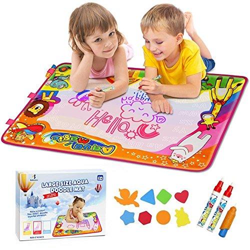 EpochAir Kids Baby Toddler Wasser Zeichnen Aqua Doodle Matte Toy mit 2 Stiftes, 86 x 57cm, 1 Bürste und Ziehformen Aqua Drawing Painting Mat mit 6 Colors Spielzeug für Kinder Mädchen Jungen Educational Gift