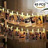 LED Foto Clips Lichterkette, Ubegood Foto Clips 4.2M Batteriebetriebene Stimmungsbeleuchtung Dekoration 40 Photo Clips wanddekoration foto für Zuhause, Party, Weihnachten, Dekoration, Hochzeiten