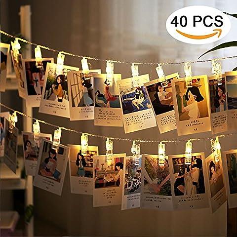 LED Foto Clips Lichterkette, Ubegood Foto Clips 4.2M Batteriebetriebene Stimmungsbeleuchtung Dekoration 40 Photo Clips für Zuhause, Party, Weihnachten, Dekoration, Hochzeiten (Warmweiß)