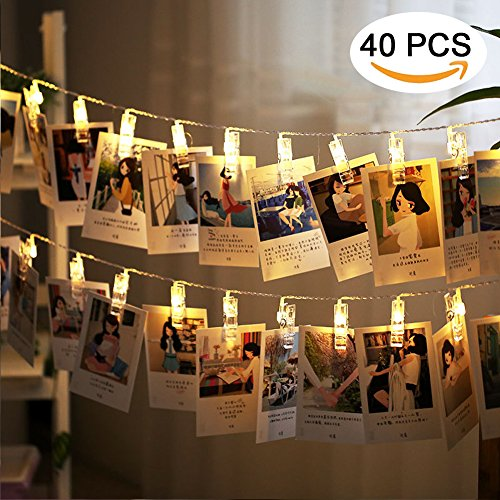 LED Foto Clips Lichterkette, Ubegood Foto Clips 4.2M Batteriebetriebene Stimmungsbeleuchtung Dekoration 40 Photo Clips für Zuhause, Party, Weihnachten, Dekoration, Hochzeiten (Eine Dekoration Für Party)