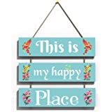KREEPO This is My Happy Place Wall Hanging Board Plaque Sign for Room Decoration Green (12 x 10.5 Inch)