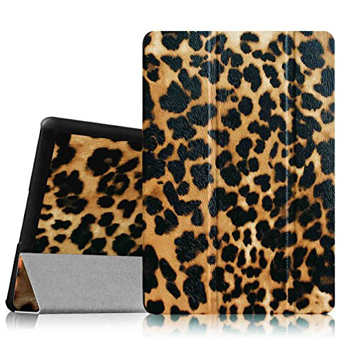 Fintie Dell Venue 8 Pro (Windows 8.1) Hülle Case - Ultra Schlank Superleicht Ständer SlimShell Cover Schutzhülle Etui Tasche für Dell Venue 8 Pro 5000 Series / New Venue 8 Pro 3000 Series (2014) Windows 8.1 tablet, Leopard Braun