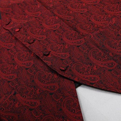 EGE1B.01 Exporteure Waistcoat Paisley Microfiber Weste Vorgebundene Fliege durch Epoint EGE1B02C-Rot Schwarz
