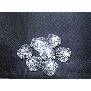 5 x Acrylic Diamante Buttons-Hearts 32 Line - 20 mm