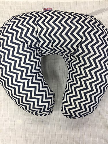 soft-nursing-pregnancy-pillow-cushion-wedge-navy-blue-white-chevron-with-quilted-cover-extra-padding