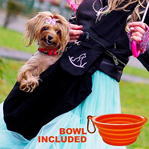 Tragetasche für Kleine Hunde und Welpen - Transporttasche / Hundetasche für Haustiere bis 6 kg - Schwarz