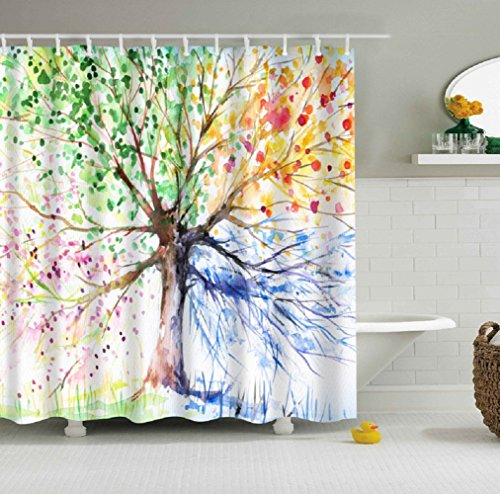 JYSPORT Digital Printed Antibacterial Mildew Proof 100 Polyester Fabric Water Resistant Shower Curtain