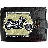 HARLEY DAVIDSON SOFTAIL image sur KLASSEK Hommes RFID Portefeuille Porte-monnaie Réel Noir Cuir Moto Bike cadeau d'accessoire avec boîte en métal produit HARLEY DAVIDSON Non officiel