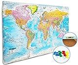 XL Pinnwand Weltkarte - Wandbild 90 x 60 cm, 3,5 cm Tiefe – Premium Memotafel mit Kork & 20 Markierfähnchen/Pinnnadeln – Lernkarte/Karte mit Flaggen 2018 - MAPS IN MINUTES™
