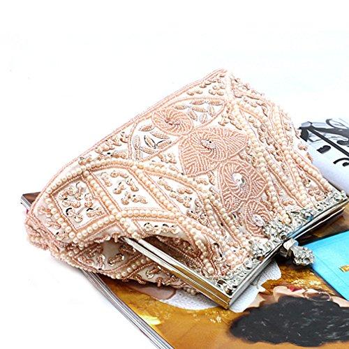 Belsen Ladies Retro Leaf Beaded Bag Paillette Party Wedding Borsette Champagne